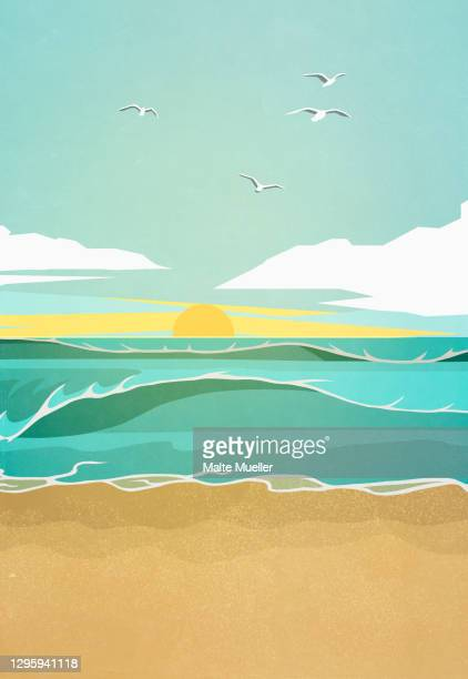 scenic view sea waves at sunset - day stock illustrations