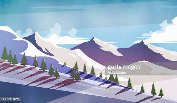 scenic view sunny, snowy mountain landscape - silence stock illustrations