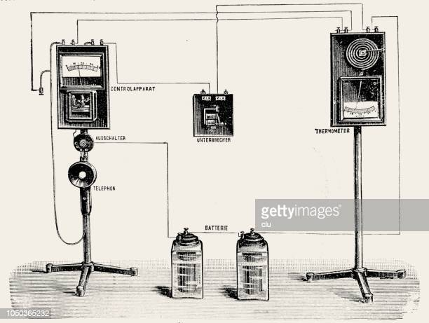 schematic of a telephone station - thomas edison stock illustrations