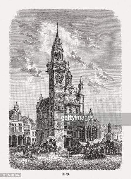 schepenhuis, aalst, belgium, wood engraving, published in 1893 - tower stock illustrations