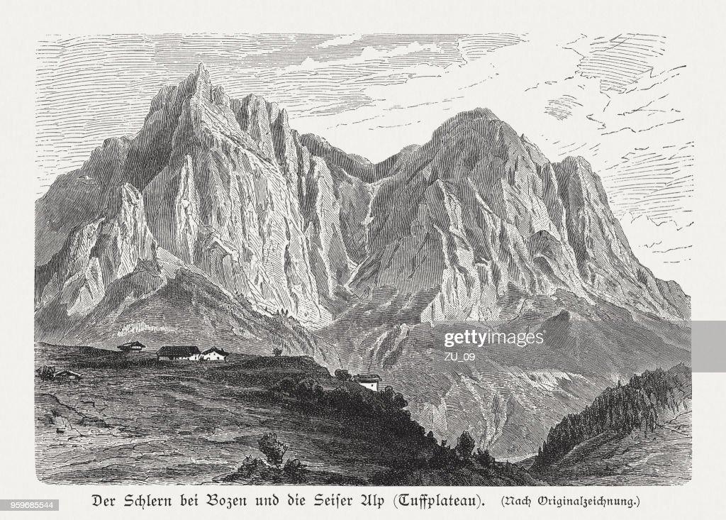 Schlern und Tuffalm (Völs), Dolomiti, Italien, Holzschnitt, veröffentlicht 1897 : Stock-Illustration