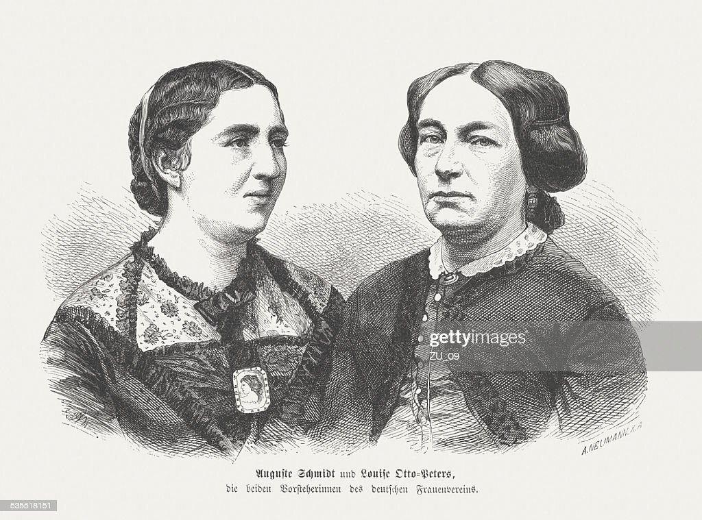 Schmidt and Otto-Peters, German bourgeois women's movement, publuished in 1871 : stock illustration