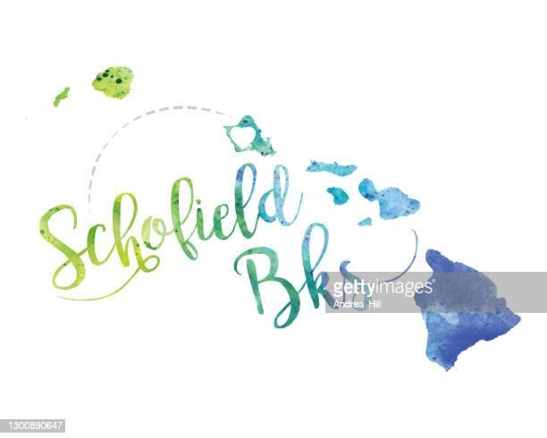 schofield, hawaii raster watercolor map illustration - honolulu stock illustrations