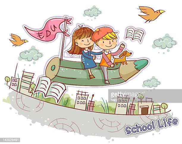 School children flying on pencil