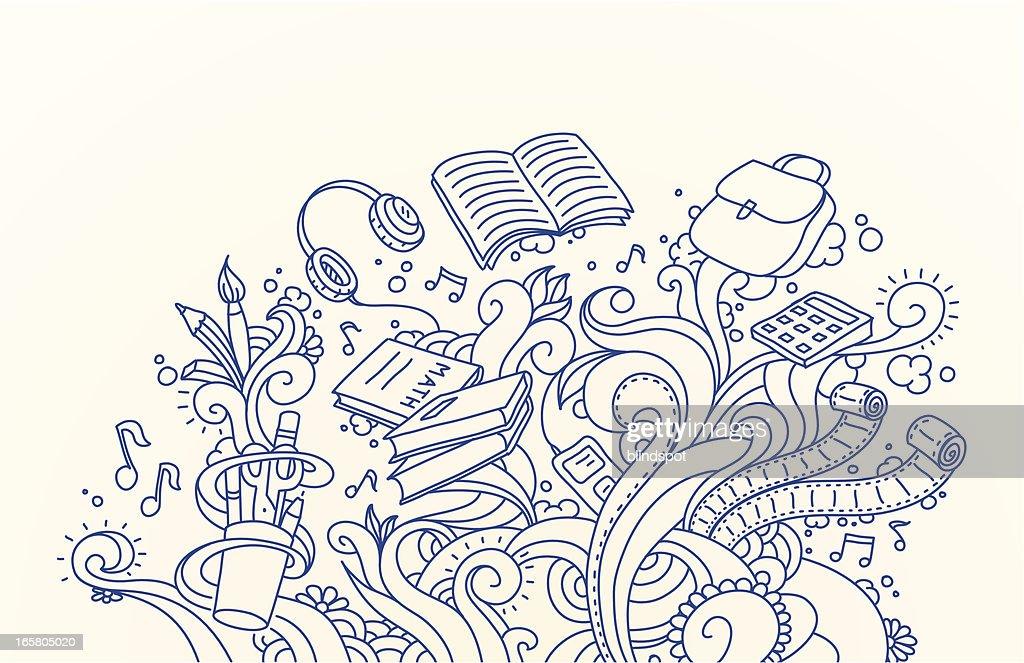 Schule und Kritzeleien : Stock-Illustration
