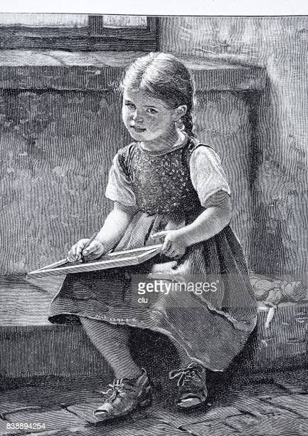 school girl writes on slate - one girl only stock illustrations, clip art, cartoons, & icons