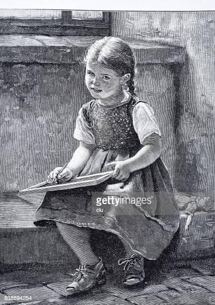 illustrations, cliparts, dessins animés et icônes de fille de l'école écrit sur l'ardoise - petites filles