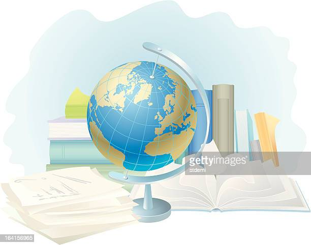 illustrazioni stock, clip art, cartoni animati e icone di tendenza di scuola - mappamondo