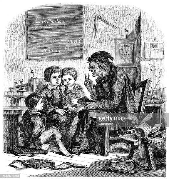 School teacher and pupils in classroom from 1875