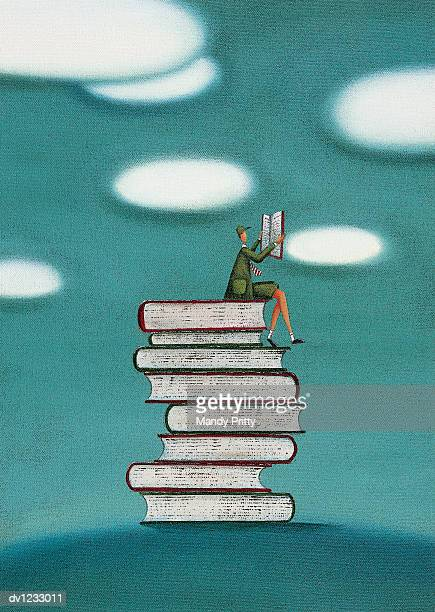 schoolboy sitting on a stack of books reading - mandy pritty stock illustrations