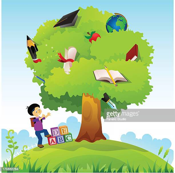 schoolboy standing near a knowledge tree - the_writer's_block stock illustrations