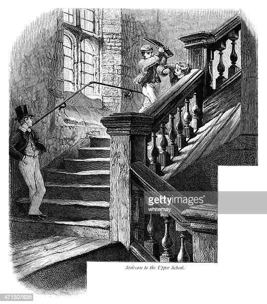 Schoolboys on the staircase to Upper School, Eton College