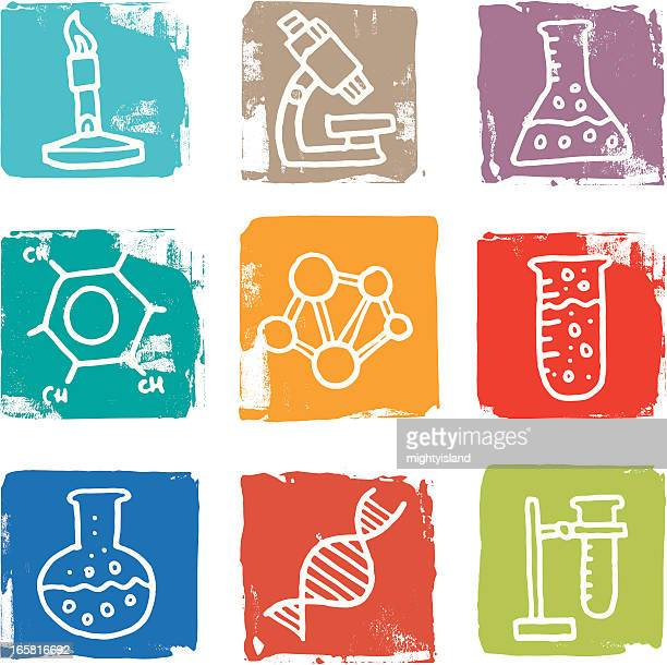 Science and chemistry icon blocks
