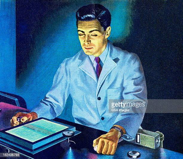 Scientist Looking at Monitor