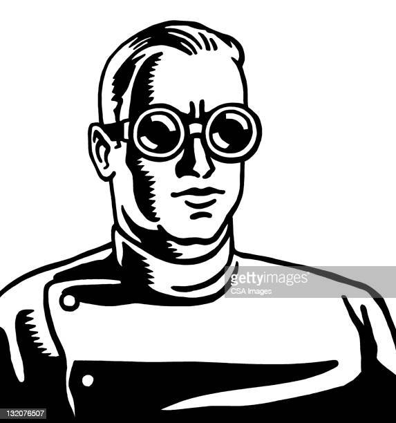 scientist wearing goggles - flying goggles stock illustrations