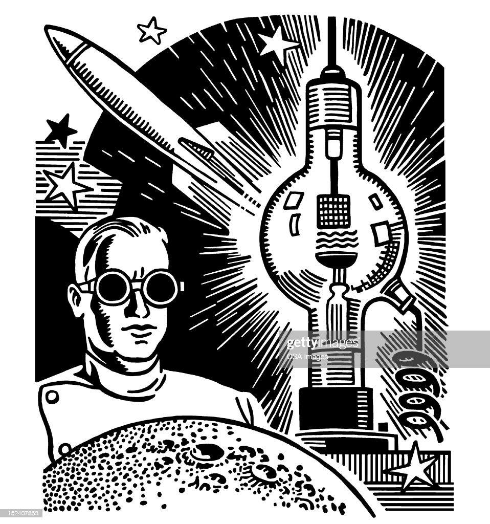 Scientist Wearing Goggles : Stock Illustration