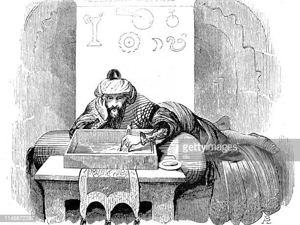 scientist working and planning at the table - ottoman empire stock illustrations
