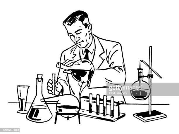 科学者の作業にラボ
