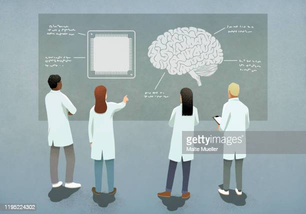scientists comparing computer chip and brain diagram - human internal organ stock illustrations