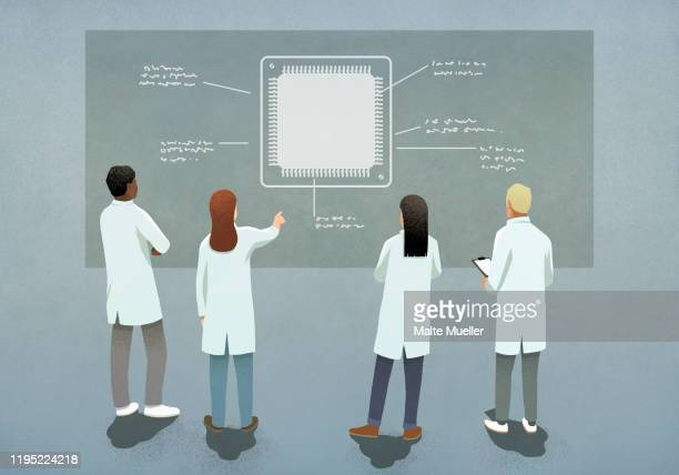 scientists discussing computer chip diagram - 白衣点のイラスト素材/クリップアート素材/マンガ素材/アイコン素材