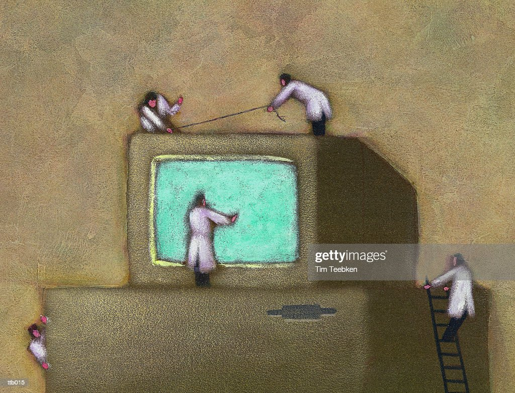 Scientists Examining Computer : Ilustración de stock