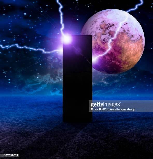 sci-fi composition, monolith on lifeless planet - 内陸部の岩柱点のイラスト素材/クリップアート素材/マンガ素材/アイコン素材