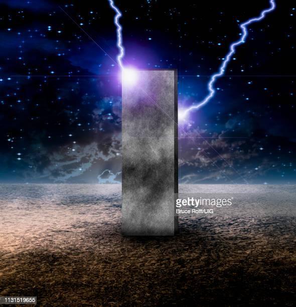 sci-fi composition, strange monolith on lifeless planet - 2001 stock illustrations