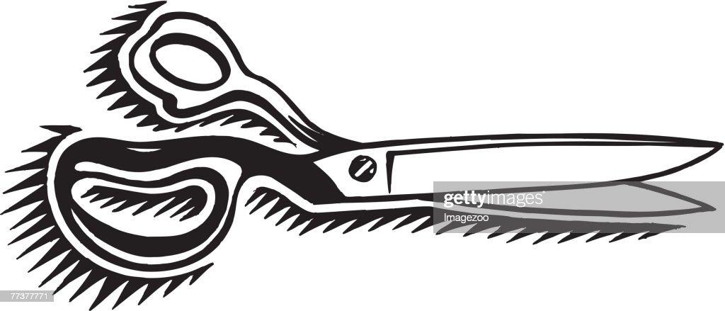 scissors b&w : Illustration