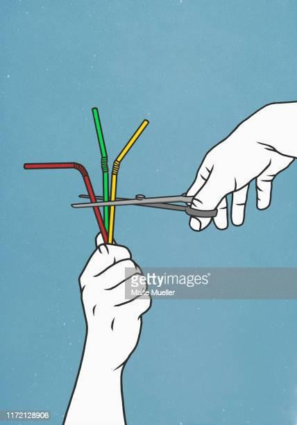 scissors cutting straws - plastic stock illustrations
