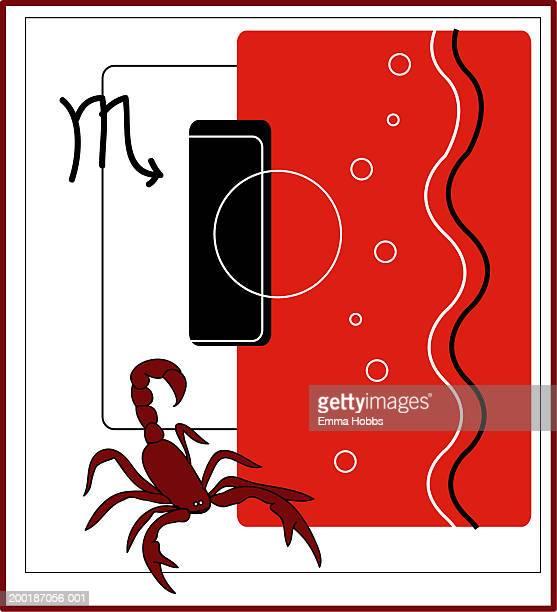 Scorpio zodiac symbols, montage