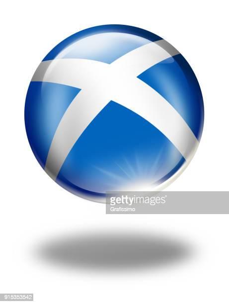 Skottland knappen bollen med skotsk flagga isolerad på vit