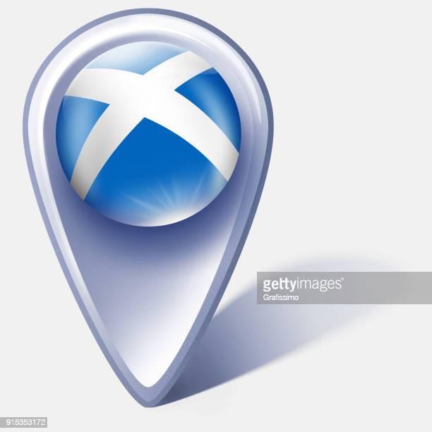 Skottland knappen karta pekaren med skotsk flagga isolerad på vit