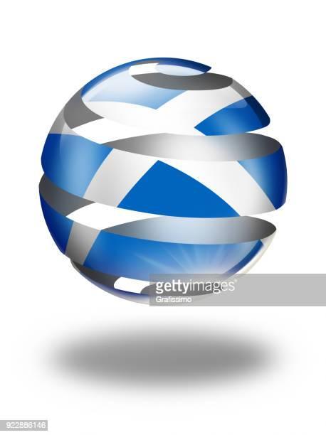 Skottland knappen sfär med skotsk flagga isolerad på vit