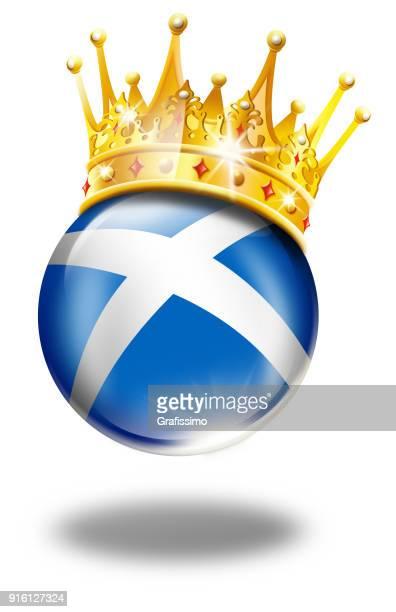 Skottland-knappen med skotsk flagga och vinnaren krona isolerad på vit