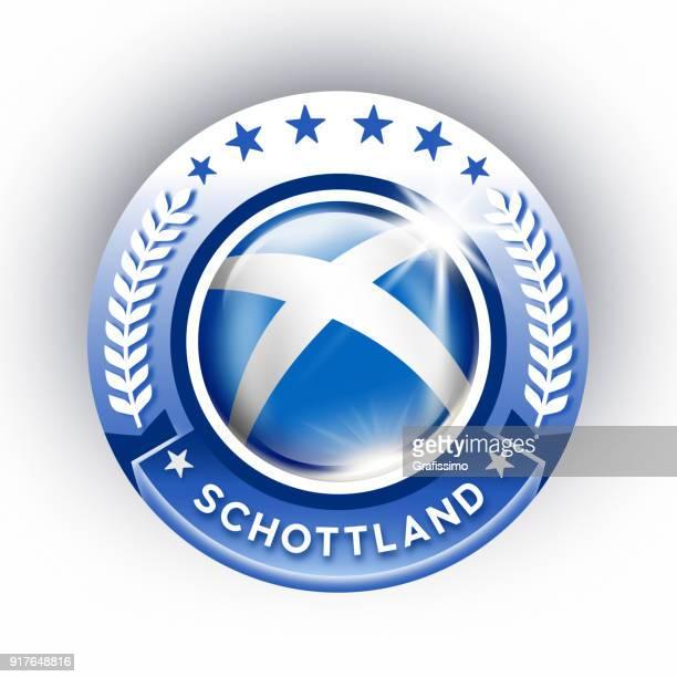 Skottland-knappen med skotsk flagga isolerad på vit