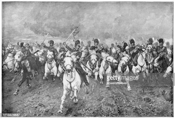 scotland forever! by elizabeth thompson, lady butler - 19th century - cavalry stock illustrations