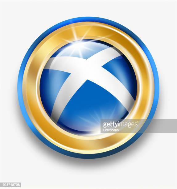 Skottland gyllene knapp med skotsk flagga isolerad på vit