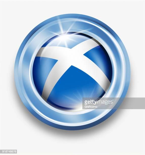 Skottland silver knappen med skotsk flagga isolerad på vit