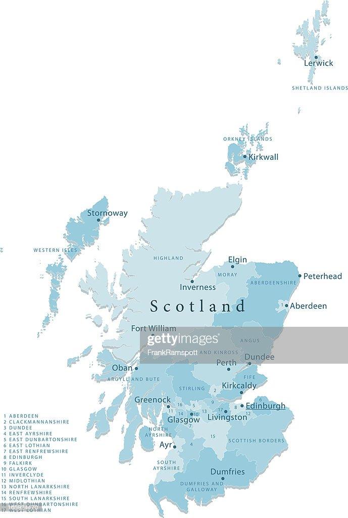 Cartina Geografica Della Scozia.Scozia Mappa Vettoriale Isolato Regioni Illustrazione Stock Getty Images