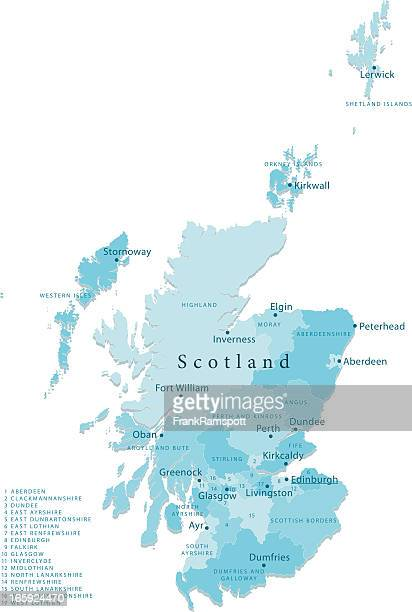 scotland vector map regions isolated - scotland stock illustrations