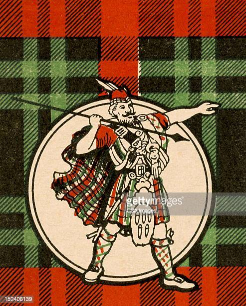 Scotsman Holding Spear and Pointing