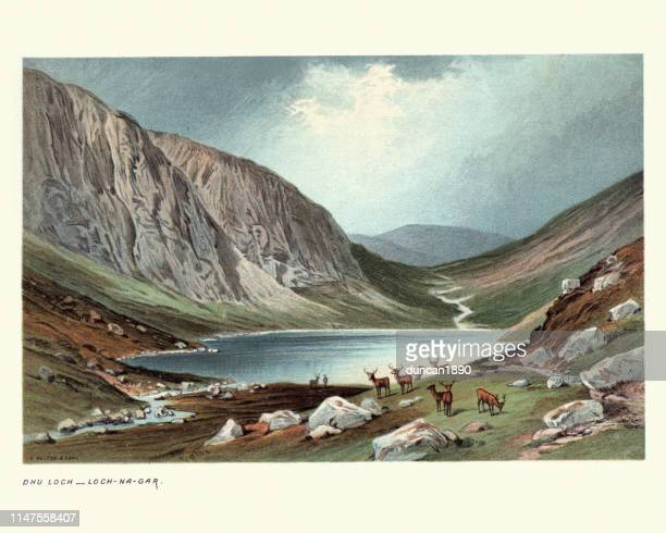 scottish landscape, dhu loch, loch-na-gar, 19th century - graphic print stock illustrations