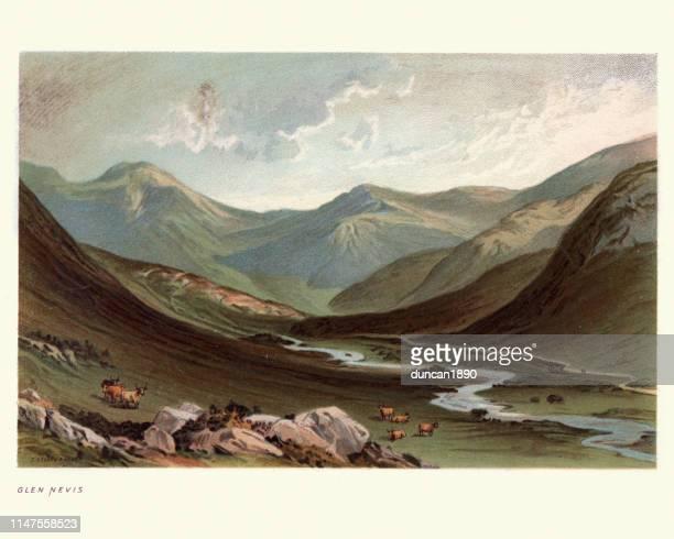 ilustraciones, imágenes clip art, dibujos animados e iconos de stock de paisaje escocés, glen nevis, highland, escocia, 19th siglo - valle