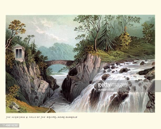 スコットランドの風景、bruar のエルミタージュと滝、スコットランド19世紀 - リトグラフ点のイラスト素材/クリップアート素材/マンガ素材/アイコン素材