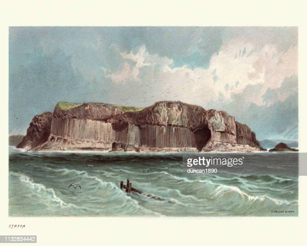 scottish landscape, island of staffa, scotland, 19th century - isle of staffa stock illustrations, clip art, cartoons, & icons