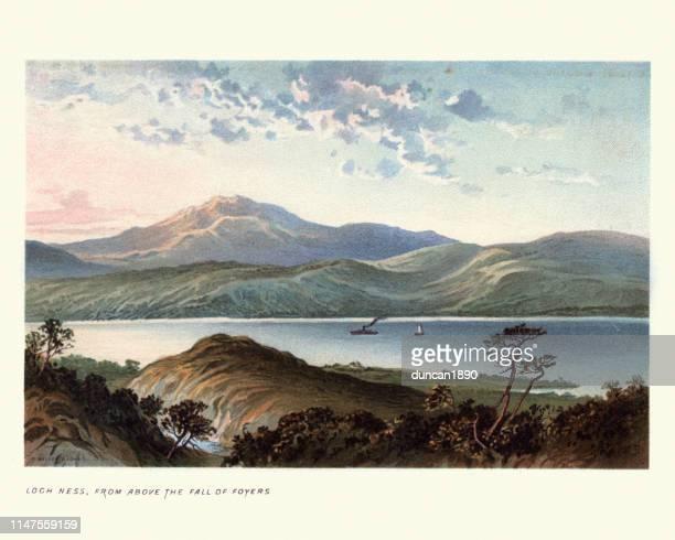 scottish landscape, loch ness, 19th century - loch ness stock illustrations