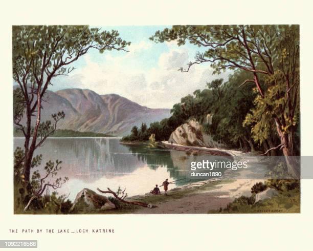 scottish landscape, path by lake,  loch katrine, scotland. 19th century - british culture stock illustrations