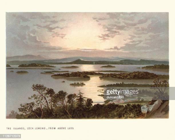 scottish landscape, the islands, loch lomond, 19th century - horizontal stock illustrations