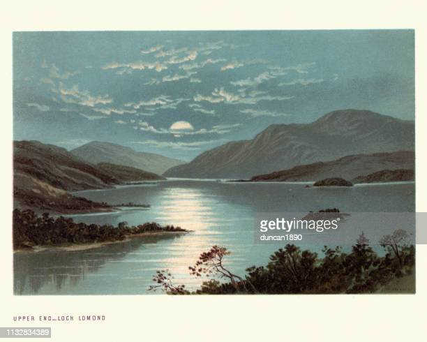 scottish landscape, upper end, loch lomond, scotland, 19th century - scottish culture stock illustrations