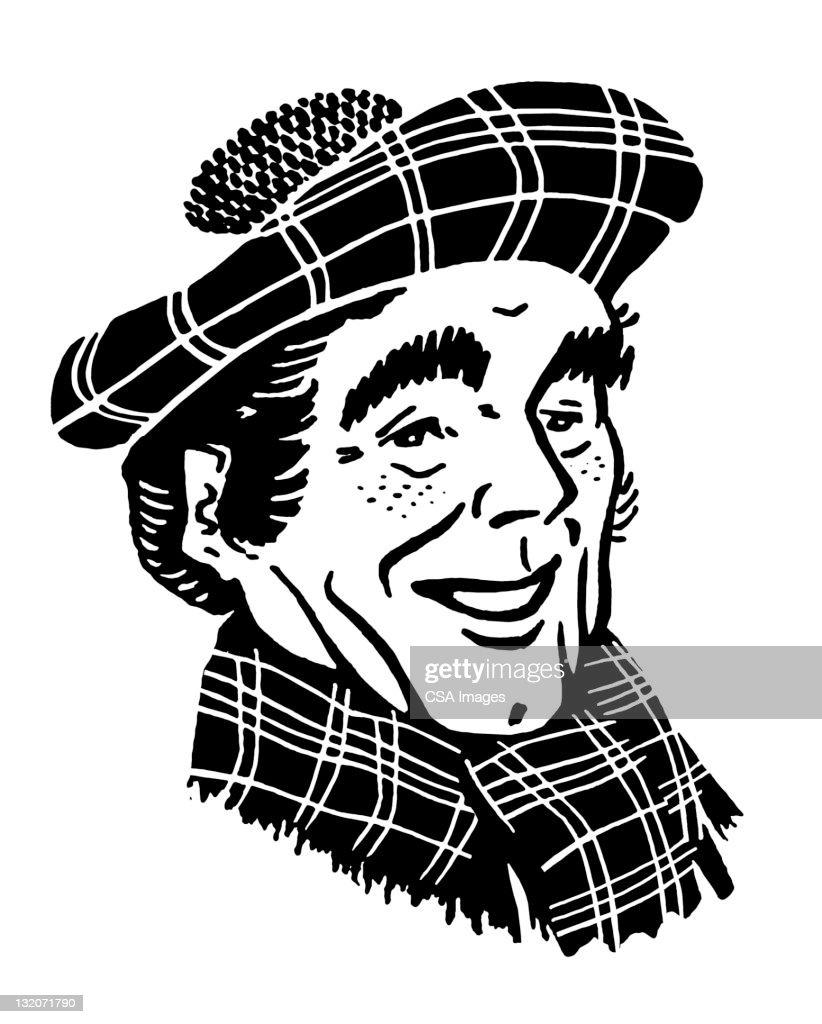 Scottish Man in Tam Hat : stock illustration